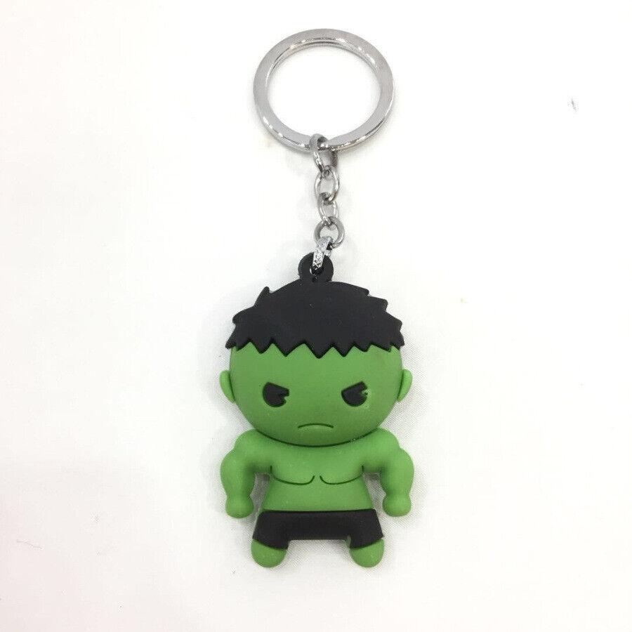 3D Rubber Keychain Marvel Comics Superhero Keyring Hulk Deadpool Pendant 4