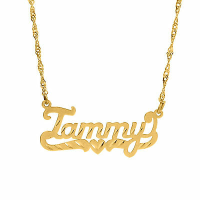 Personalized Sterling Silver Gold Any Name Plate Script Chain Necklace 9 Styles