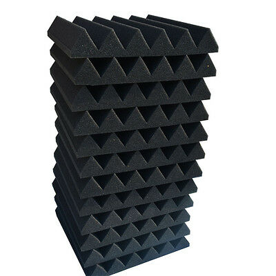 "12 Pack Acoustic Wedge Studio Foam Sound Absorption Wall Panels 2"" x 12"" x 12"" 2"