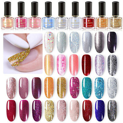 BORN PRETTY Glitter Nail Polish Peel Off Holographic Sparkly Shiny Varnish Pink 12