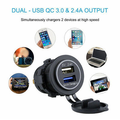 Dual Socket Motorcycle USB Charger Fast Power Adapter QC 3.0 + 2.4A Universal 1x