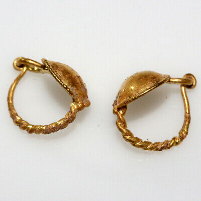Pair Of Late Roman Early Byzantine Gold Earrings Ca 400-500 Ad 6