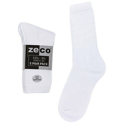 Zeco School Uniform Unisex Girls/Boys White Rib Sports Socks 5 Per Pack (BS3186) 2