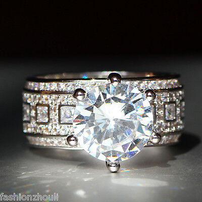 New 925 Silver Filled White Sapphire Birthstone Engagement Wedding Ring 5-11 10