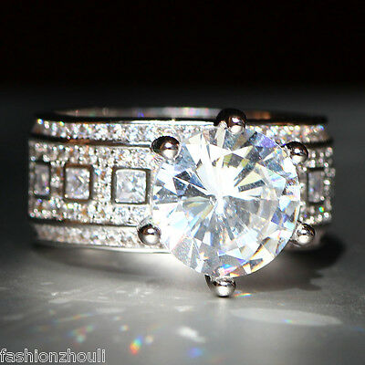 New 925 Silver Filled White Sapphire Birthstone Engagement Wedding Ring 5-11 11