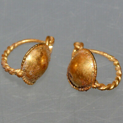 Pair Of Late Roman Early Byzantine Gold Earrings Ca 400-500 Ad 3