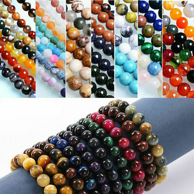 Wholesale NATURAL GEMSTONE Round Charms Loose Spacer BEADS 4MM 6MM 8MM 10MM 12MM 6