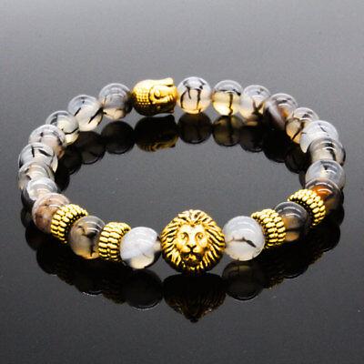Men Women 8mm Natural Round Gemstone Bead Handmade Beads Bracelets Charm Jewelry 3
