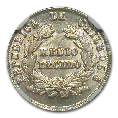 1892/82 Chile 1/2 Decimo Silver Coin MS-66 NGC - SKU#174848