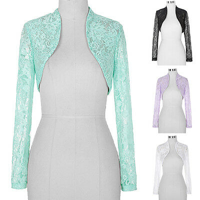 ... Women s Sheer Lace Long Sleeve Bolero Shrug Evening Cardigan Sweater  Crop Top 2 e7fcfd88d