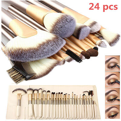 Pro 24 Pcs Makeup Brushes Cosmetic Tool Kit Eyeshadow Powder Brush Set+ Case 6