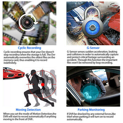 "1080P Car DVR 4""Dual Lens Dash Cam Front and Rear Video Recorder Camera G-sensor 3"
