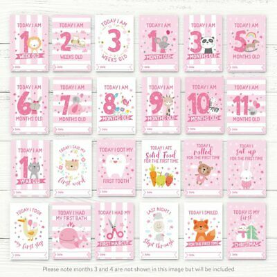 Baby Milestone Cards ~ 1st Year Memorable Moments Girl Girls Age 2
