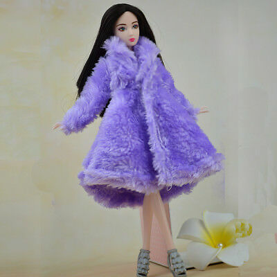 Kid Playhouse Toy Doll Accessories Winter Wear Pink Coat Clothes For 1/6 Doll 7