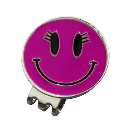 1 x New Magnetic Hat Clip + Pink Smiley Golf Ball Marker - For Golf Hat or Visor