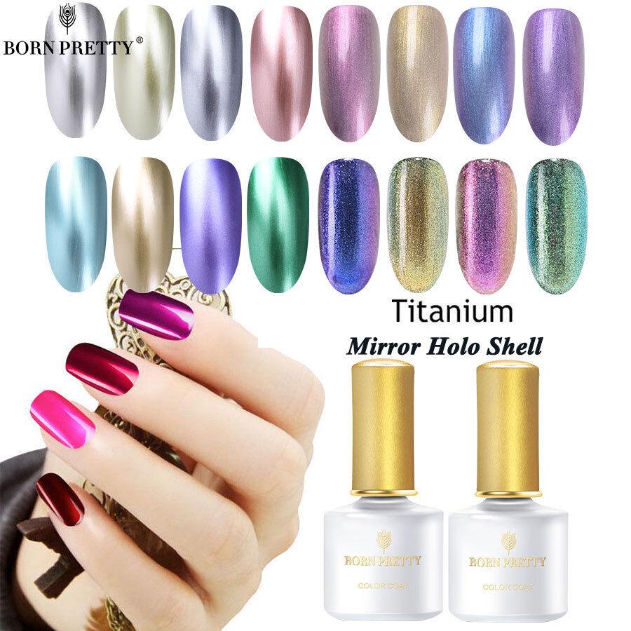 BORN PRETTY 6ml Metallic Gel Nail Polish UV LED Holographic Mirror Base Top Coat 8