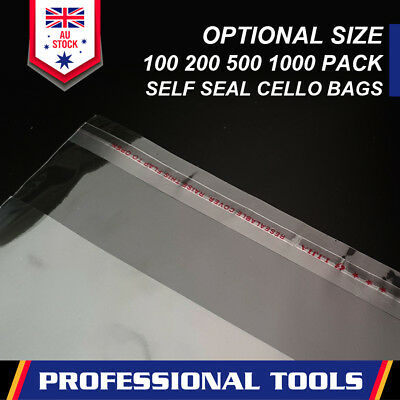 Clear Self Seal Bags Adhesive Cello Cellophane Resealable Plastic Optional Size 2