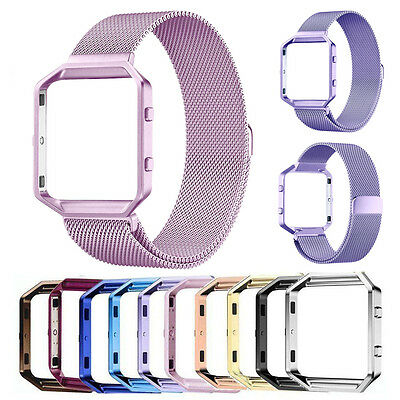 Milanese Magnetic Stainless Steel Wrist watch Band Strap  Frame For Fitbit Blaze 6