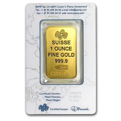 1 oz Gold Bar - Pamp Suisse New Design (In Assay) - SKU #86748 2