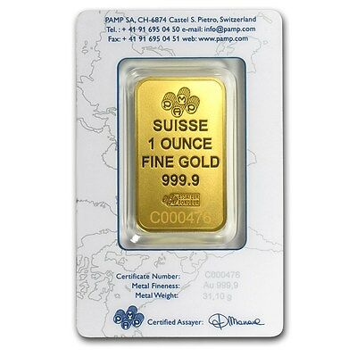SPECIAL PRICE! 1 oz Gold Bar - PAMP Suisse New Design (In Assay) - SKU #86748
