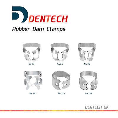 Dentech Dental 6Pcsx Restorative Rubber Dam Clamps S. Steel 24 25 26 14T 138 139 2