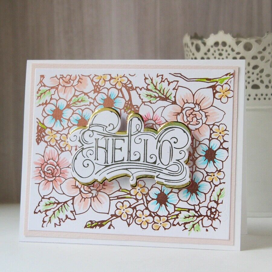Greetings Wishes Word Hot Foil Plates Dies Stencil Embossing Craft Scrapbooking 3
