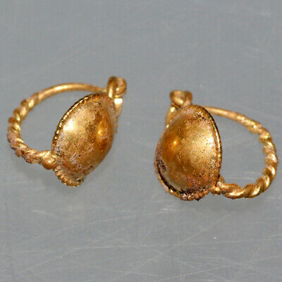 Pair Of Late Roman Early Byzantine Gold Earrings Ca 400-500 Ad 2