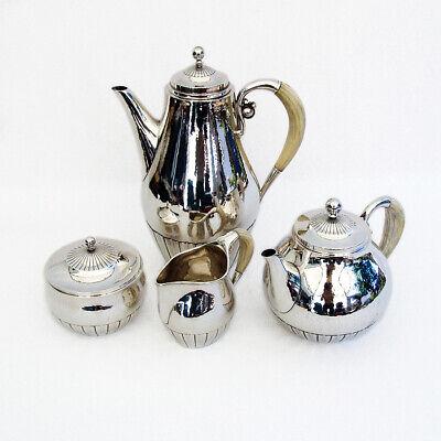 Georg Jensen Cosmos 4 Piece Tea Coffee Set Sterling Silver 1930 Denmark 2