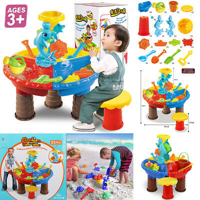 Sand and Water Table Sandpit Indoor/Outdoor Beach Kids Children Play Toy Set UK 11