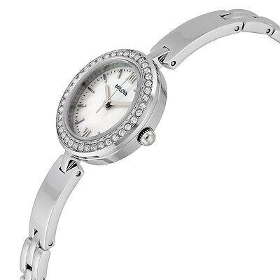 Bulova Women's 98X107 Quartz Crystal Accents Silver-Tone 25mm Watch 2