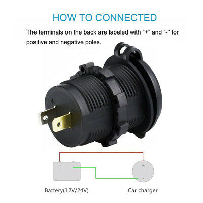 Dual USB Motorcycle Charger Power Socket Adapter QC 3.0 + 2.4A Cable Fuse Cover