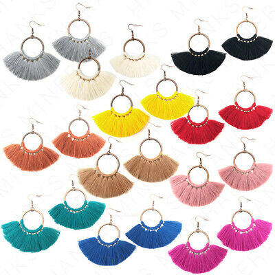 Hoop Fan Tassel Earring Fringe Circle Round Drop Straw Boho Earrings 2