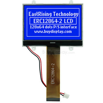 BLUE SERIAL SPI 128x64 Matrix Graphic LCD Display COG Module w/Tutorial