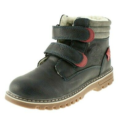 New Boys Kids Winter Warm Fur Walking Snow Straps Boots Black School Shoes Sizes 10