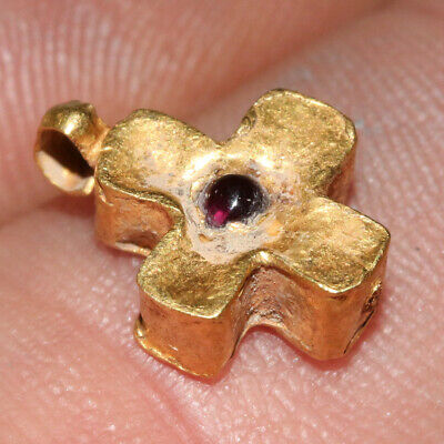 Byzantine Christian Religious Gold Cross Pendant With Gem Stone Ca 700-1000 Ad 7
