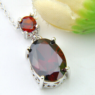 Multi Stones Natural Fire Red Garnet Gemstone Silver Necklace Pendant With Chain 5