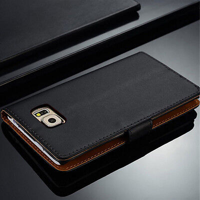 Genuine Leather Flip Wallet Case Cover For Samsung Galaxy S7 S8 S9 S10+ Note 8 9 6