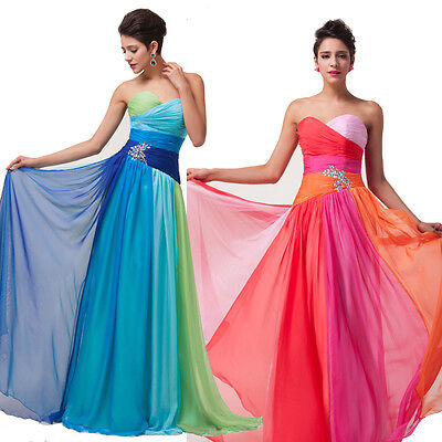 BUNTE LANG ABENDKLEID Brautjungfer Party Kleid Ballkleider ...