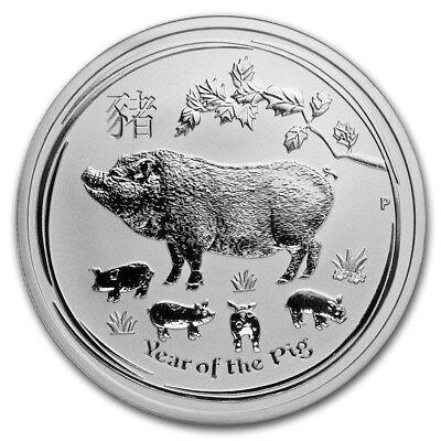 2019 ~ 1/2~OZ. .9999 SILVER ~ LUNAR  YEAR of the  PIG ~ PERTH MINT ~ GEM ~ $9.99