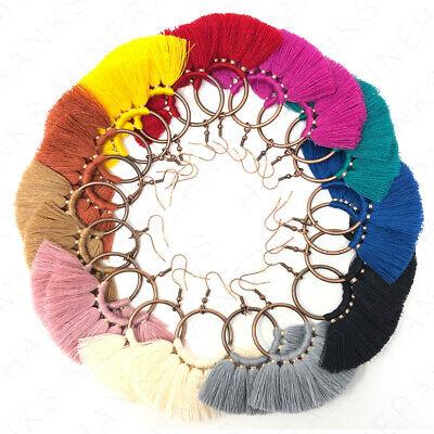 Hoop Fan Tassel Earring Fringe Circle Round Drop Straw Boho Earrings 3