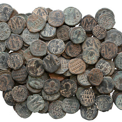 Top Quality Of Big Bronze Follis Or Half Follis Byzantine Coins , One Bib 10 Coi 5
