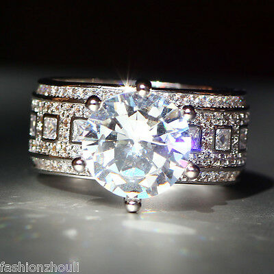 New 925 Silver Filled White Sapphire Birthstone Engagement Wedding Ring 5-11 9