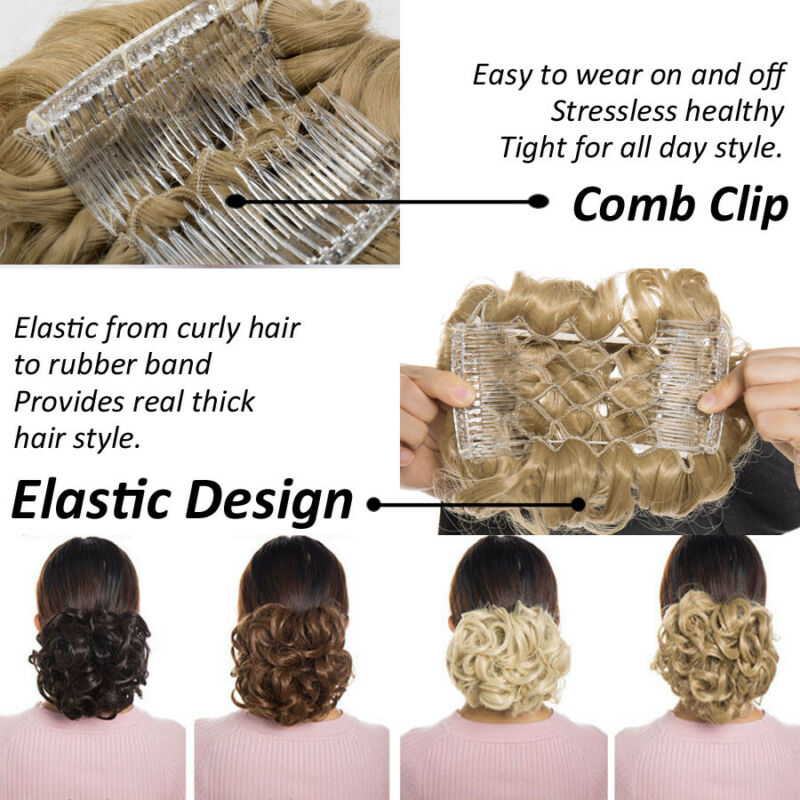 Elastic Scrunchie Messy Bun Chignon Curly Wavy LARGE THICK Hair Extension Blonde 10