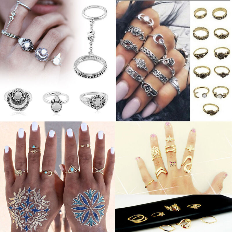 Charm BOHO Style Silver Gold Fashion Arrow Moon Midi Finger Knuckle Rings Sets
