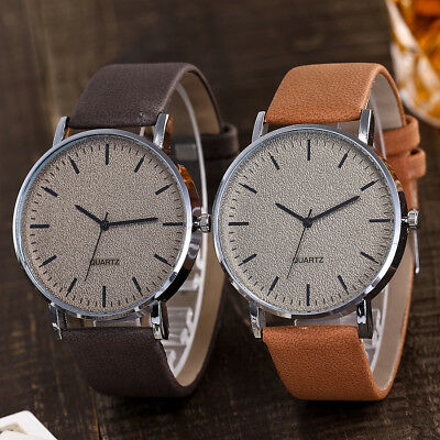 Unisex Fashion Casual Women's Watches Men Leather Bracelet Quartz Wrist Watch 2
