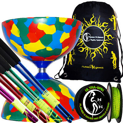 Jester Diabolo Metal Diabolo Hand Sticks Diablo Tricks Book +Travel BAG 4Col