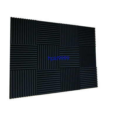 "96 Pack Acoustic Foam Panel Wedge Studio Soundproofing Wall Tiles 12"" X 12"" X 1"" 2"