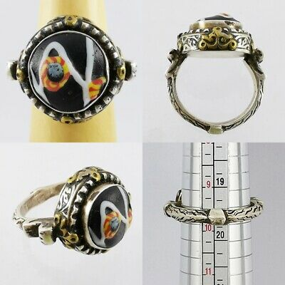 Ancient Lovely Mosaic Gabri Glass Half Bead Ring 925 Solid Silver #A46 4
