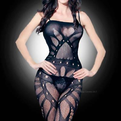 Black Classy Fishnet Open Crotch Bodystocking Bodysuit Lingerie Crotchless 11