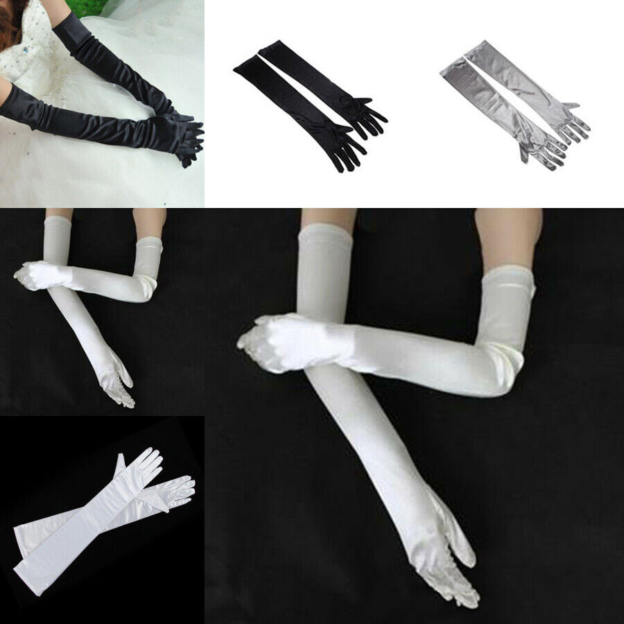 """21"""" Long Flapper Evening Opera Satin Gloves For Womens Ladies Elbow Length 1920s 3"""